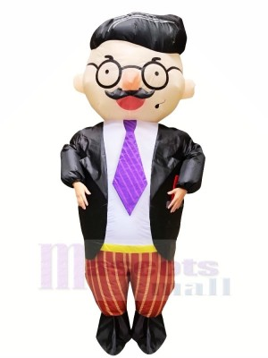 Handsome Boss with Glasses Inflatable Mascot Costumes Cartoon