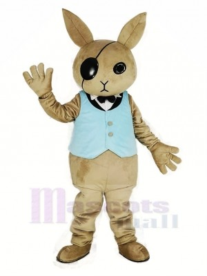 Rabbit Butler with Blue Vest Mascot Costume Cartoon