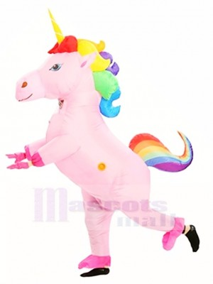 Rainbow Unicorn Horse Blow Up InflInflatable Costume Halloween For Adults