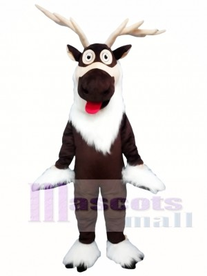 Brown Deer Christmas Reindeer Mascot Costume