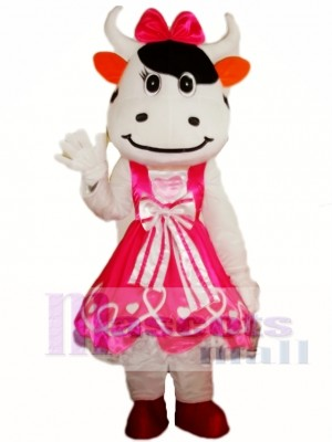 Pink Cattle Cow Mascot Costume