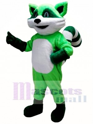 Green Ricky Racoon Mascot Costume