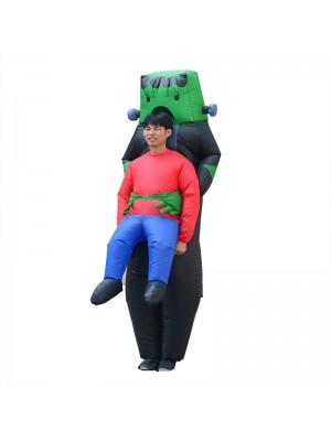 Robot Alien Carry me Inflatable Costume Green Robot Halloween Christmas Bodysuit for Adult