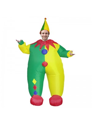 Clown with Yellow and Green Hat Inflatable Costume Halloween Christmas Jumpsuit for Adult