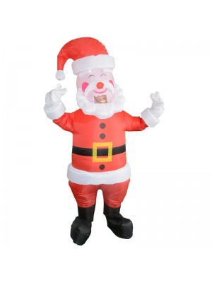Santa Claus with Yellow Belt Inflatable Costume Halloween Christmas Costume for Adult