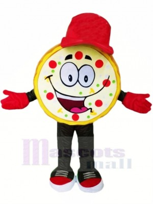 Funny Pizza with Red Hat Mascot Costumes Cartoon