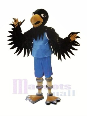 Black Hawk with Blue Suit Mascot Costumes Animal