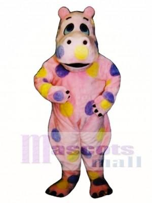 Polka-dot Hippo Mascot Costume