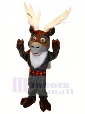 Grey Reindeer with Big Eyes Mascot Costumes Cartoon