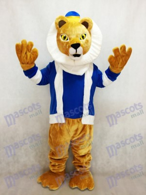 King Lionel Lion Mascot Costume with Blue Clothes and Crown