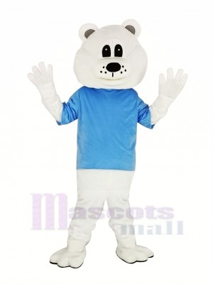 Cute White Bear with Blue T-shirt Mascot Costume Adult