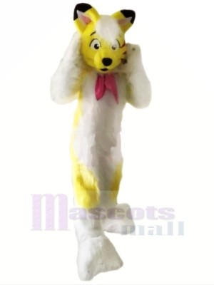 Yellow Furry Husky Dog Mascot Costumes Cartoon