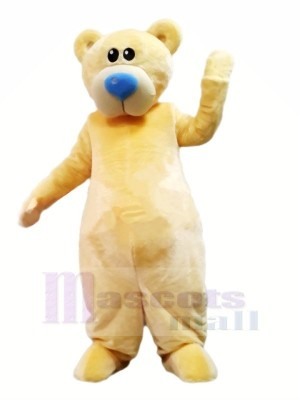 Yellow Bear with Blue Nose Mascot Costumes Cartoon