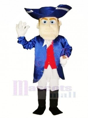 Friendly Patriot in Blue Mascot Costume People