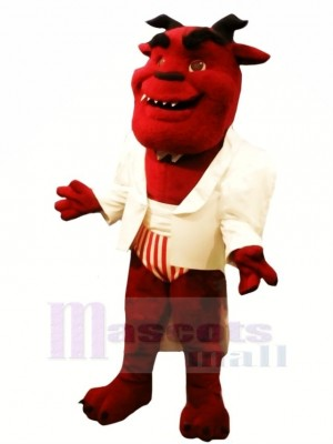 Gentleman Red Devil Mascot Costume Cartoon