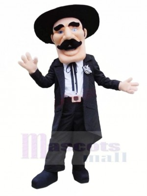 Gentleman with Black Hat Mascot Costume People