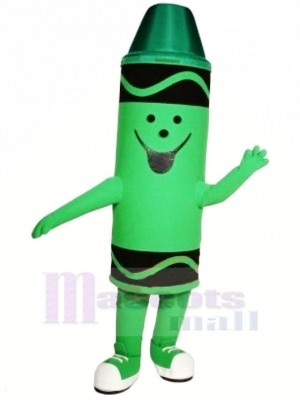Cute Green Crayon Mascot Costume Cartoon