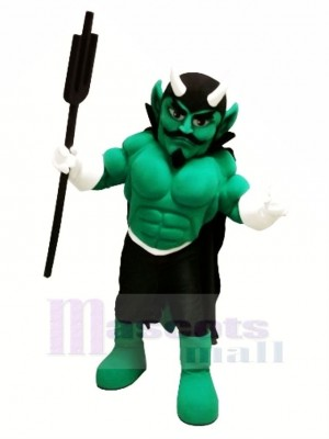 Green Muscle Devil Mascot Costume Cartoon