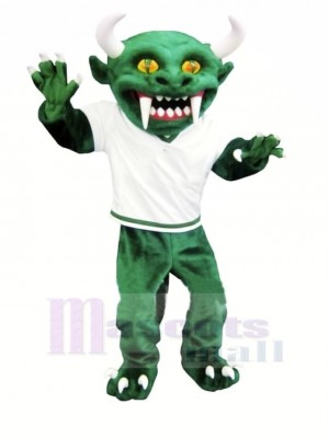 Green Devil with Long Teeth Mascot Costume Cartoon