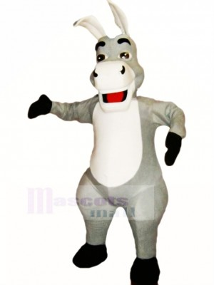 Cute Grey Donkey Mascot Costume Cartoon