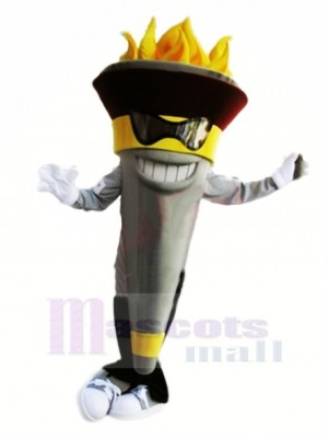 Funny Torch Mascot With Glasses Costume Cartoon