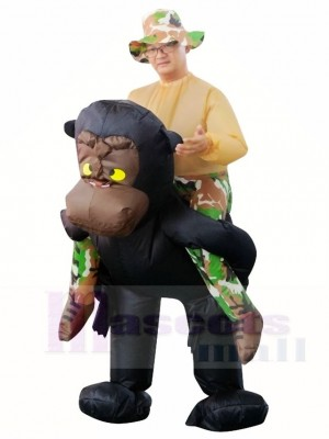 Gorilla Monkey Carry me Ride on Orangutan Gibbon Chimp Inflatable Halloween Xmas Costumes for Adults