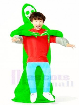 Green Alien Carry me Monster Inflatable Halloween Xmas Costumes for Kids