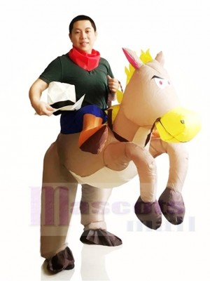 Cowboy Ride On Grey Horse Inflatable Halloween Christmas Costumes for Adults