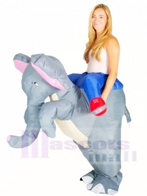 Grey Elephant Carry me Ride On Inflatable Halloween Christmas Costumes for Adults