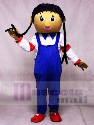 Blue Overalls Cowgirl Mascot Costumes