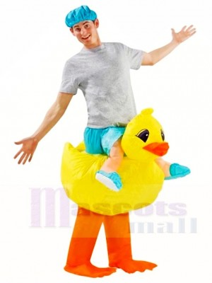 Yellow Duck Carry me Ride on Inflatable Halloween Xmas Costumes for Adults