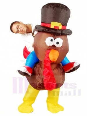 Ride on Turkey with Hat Inflatable Halloween Xmas Costumes for Adults