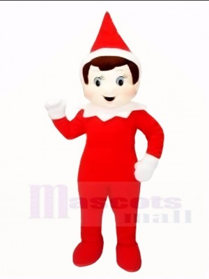 Red Elf Pinocchio Xmas Christmas Boy Mascot Costumes Halloween Cartoon