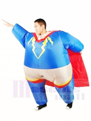 Fat Superman Superhero Cosplay with Red Cloak Inflatable Halloween Xmas Costumes for Adults