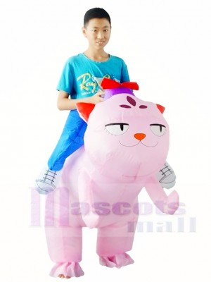 Pink Cat Carry me Ride on Inflatable Halloween Xmas Costumes for Adults