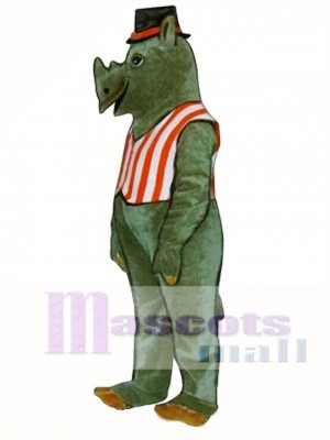 R.I. Nocerous Rhino with Vest & Hat Mascot Costume