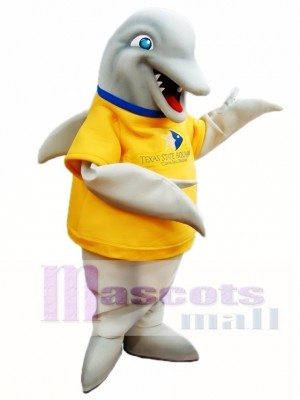 Grey Dolphin with Yellow Shirt Mascot Costumes