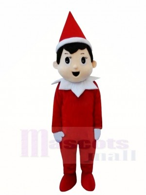 Red Elf Pinocchio On The Shelf Mascot Costumes Christmas Boy Cartoon