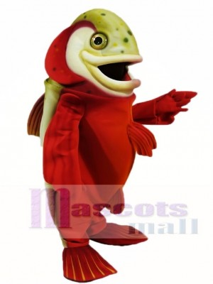 Red Arctic Char Mascot Costumes Fish