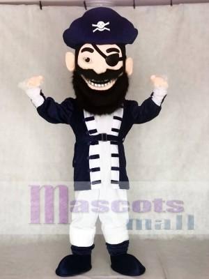 Redbeard Pirate in Navy Blue Mascot Costumes