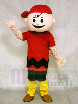 Red T-shirt Boy with Red Hat Charlie Brown from Snoopy Dog Mascot Costumes