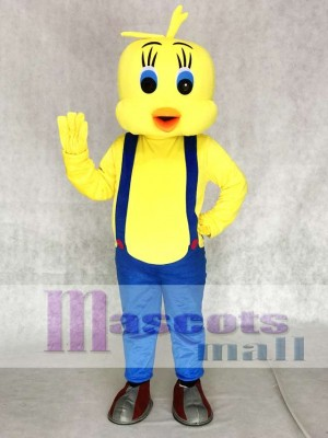Tweety Looney Tunes Yellow Bird Mascot Costumes with Blue Overalls