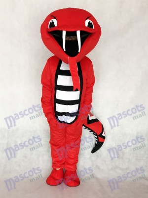 Red Rattle Cobra Snake Mascot Costume Reptiles