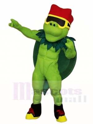 Sea Turtle Tortoise Mascot Costumes with Red Hat Ocean