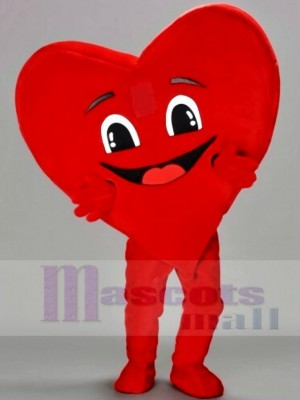 Happy Red Heart Mascot Costumes
