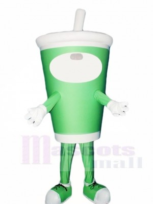 Green Coffee Cup Bottle Mascot Costumes Drink