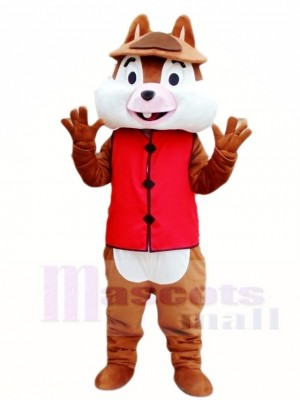 One Tooth Squirrel in Red Vest Mascot Costumes Animal