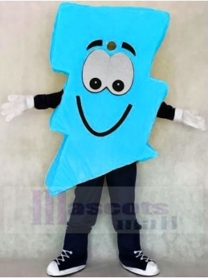 Neon Blue Lightning Bolt Mr. Electric Lightning Bolt Mascot Costumes
