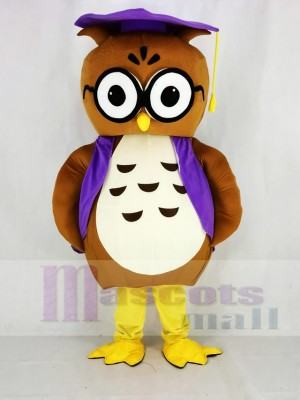Brown Owl with Vest Mascot Costume College