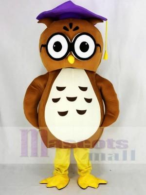 Brown Owl with Purple Cap Mascot Costume College